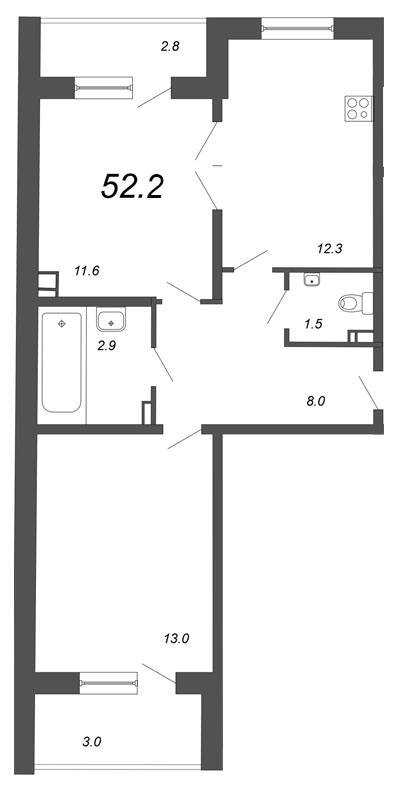 Планировка Двухкомнатная квартира площадью 52.2 кв.м в ЖК «Чудеса света»