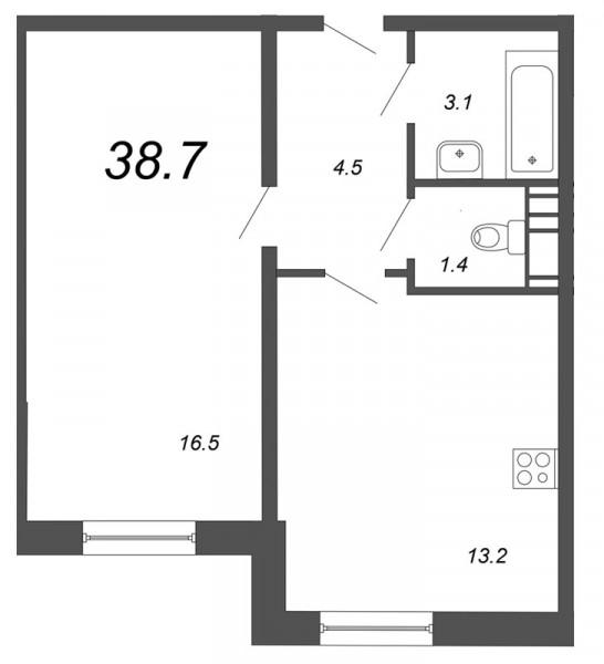 Планировка Однокомнатная квартира площадью 38.7 кв.м в ЖК «Чудеса света»