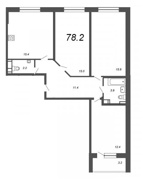 Планировка Трёхкомнатная квартира площадью 78.2 кв.м в ЖК «Чудеса света»