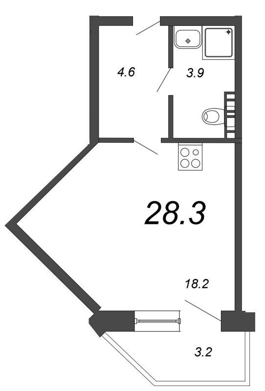 Планировка Студия площадью 28.3 кв.м в ЖК «Чудеса света»
