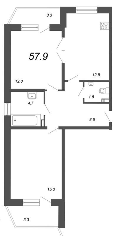 Планировка Двухкомнатная квартира площадью 57.9 кв.м в ЖК «Чудеса света»