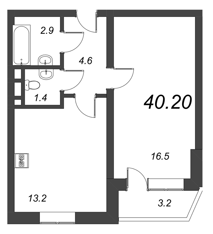 Планировка Однокомнатная квартира площадью 40.2 кв.м в ЖК «Чудеса света»