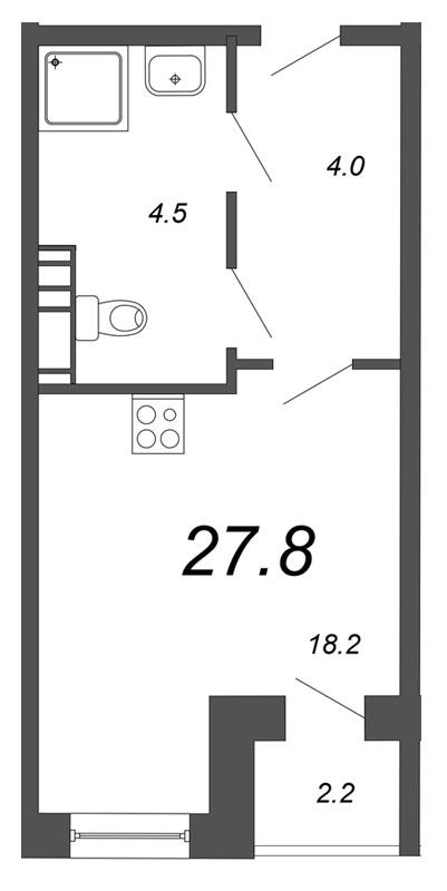 Планировка Студия площадью 27.8 кв.м в ЖК «Чудеса света»